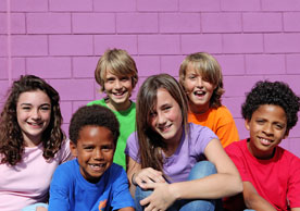group of children on purple background
